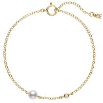 Akoya Cultured Pearl and Diamond Station Bracelet in 18K Yellow Gold