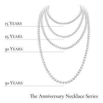 NEW Anniversary Necklace Series - White Gold Clasp - 7.5x7mm, A quality