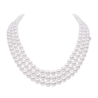 Everyday Essentials 18 inch Akoya Cultured Pearl Graduated Triple Strand in 18K White Gold