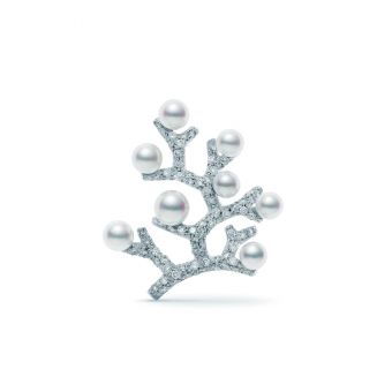 Akoya Cultured Pearl and Diamond Brooch