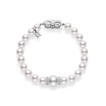 Fusion Akoya and White South Sea Cultured Pearl Bracelet With Diamond Rondelles