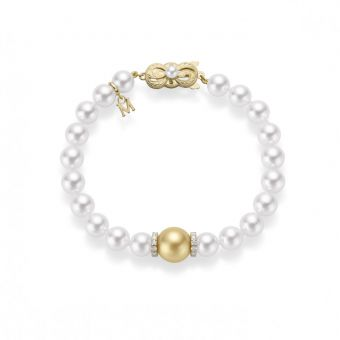 Fusion Akoya and Golden South Sea Cultured Pearl Bracelet With Diamond Rondelles