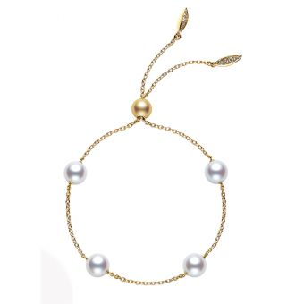 Akoya Cultured Pearl Station Bracelet in Yellow Gold