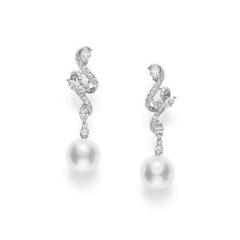 Classic White South Sea Cultured Pearl and Diamond Earrings