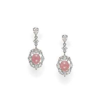 Conch Pearl and Diamond Earrings