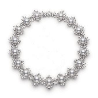 Classic White South Sea Cultured Pearl and Diamond Necklace