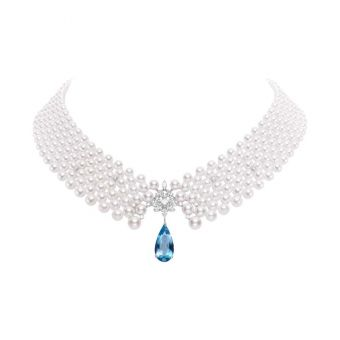 Lace Akoya Cultured Pearl Necklace with Diamonds and Aquamarine
