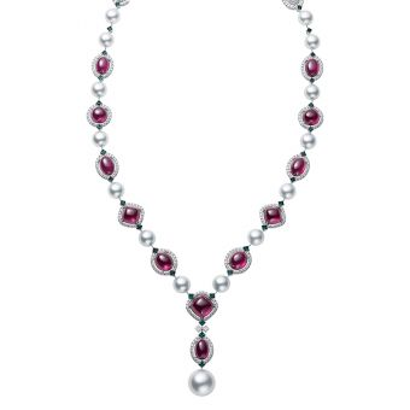 White South Sea Cultured Pearl, Garnet, Alexandrite and Diamond Necklace