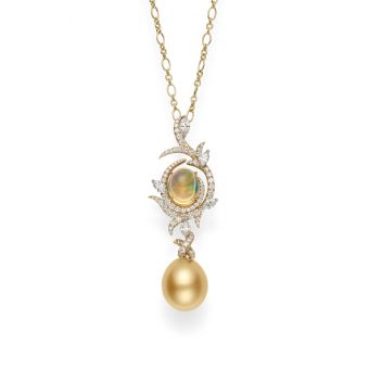 Golden South Sea Cultured Pearl and Opal Pendant