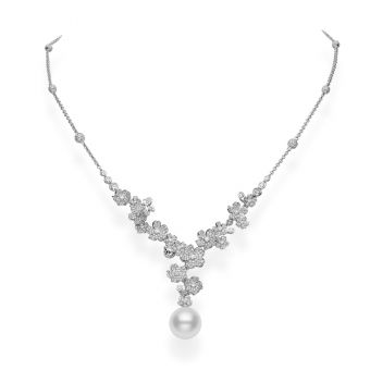 Cherry Blossom Necklace in White Gold