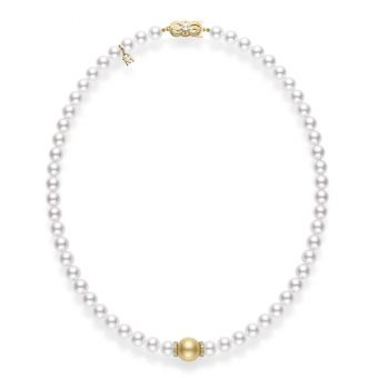 Fusion Akoya and Golden South Sea Cultured Pearl Strand With Diamond Rondelles