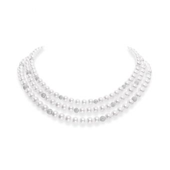 Fusion Akoya Cultured Pearl Triple Strand with Pave Diamond Spheres