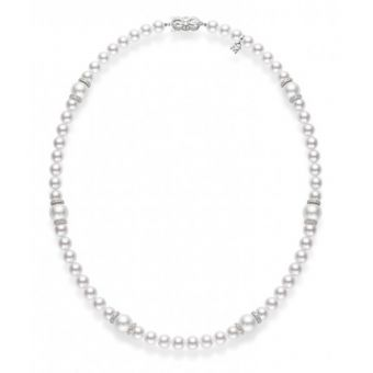 Fusion Akoya and White South Sea Cultured Pearl Strand With Diamond Rondelles