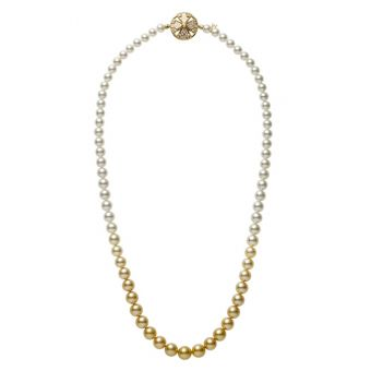 Yaguruma Akoya and Golden South Sea Cultured Pearl Necklace with Pink Enamel