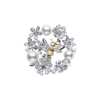Floral Akoya Cultured Pearl, Diamond and Sapphire Brooch