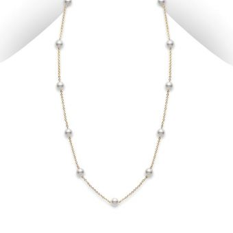 Akoya Cultured Pearl Station Necklace - 18K Yellow Gold