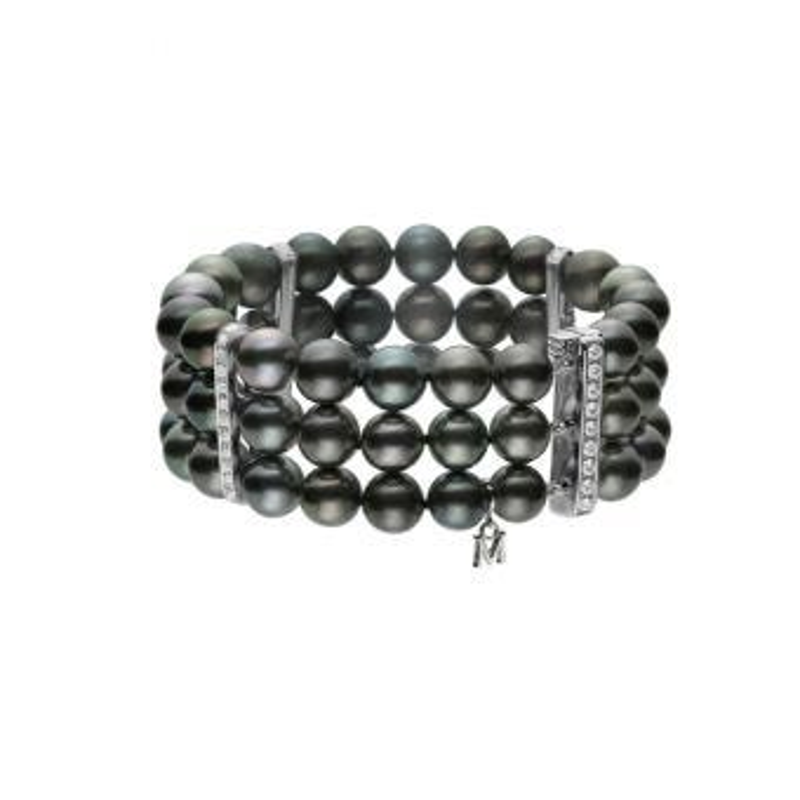 Three-Row Black South Sea Cultured Pearl Bracelet