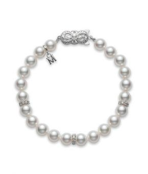 Akoya Cultured Pearl and Diamond Bracelet 18K White Gold Clasp