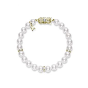 Akoya Cultured Pearl and Diamond Bracelet – 18K Yellow Gold Clasp