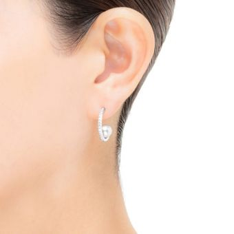 Akoya Cultured Pearl and Diamond Earrings