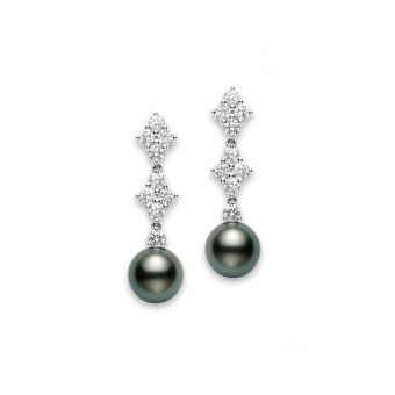 Classic Elegance Black South Sea Cultured Pearl Long Earrings