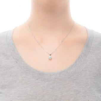 Akoya Cultured Pearl and Diamond Pendant in 18K White Gold