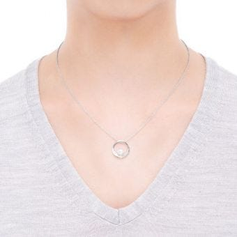 Akoya Cultured Pearl Circle Pendant in 18K White Gold