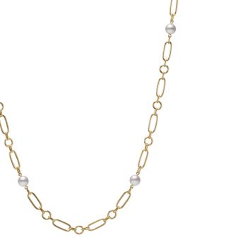 M Code Akoya Cultured Pearl Necklace in 18K Yellow Gold - 32 inch
