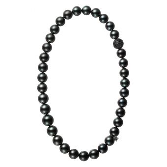 Passionoir Black South Sea Cultured Pearl Necklace with Black Spinel Clasp