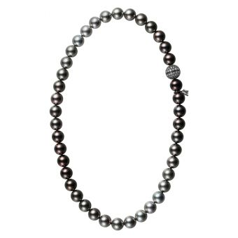 Passionoir Black South Sea Cultured Pearl Necklace with Diamond Clasp