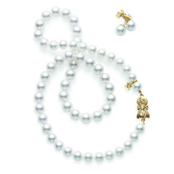 18 Inch Akoya Cultured Pearl Two-Piece Gift Set – 18K Yellow Gold