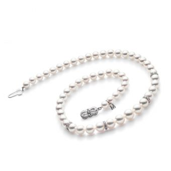 18 Inch Akoya Cultured Pearl Graduated Strand Necklace with Diamond Rondelles – 18K White Gold Clasp